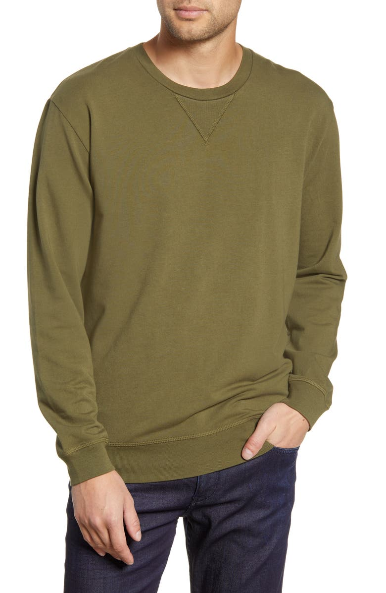 GOODLIFE Micro Terry Crewneck Sweatshirt, Main, color, OLIVE NIGHT