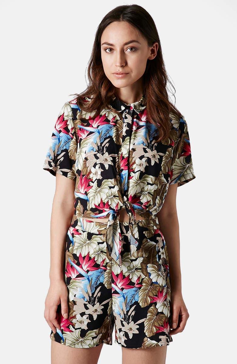 TOPSHOP 'Island Life' Print Tie Front Shirt, Main, color, 300