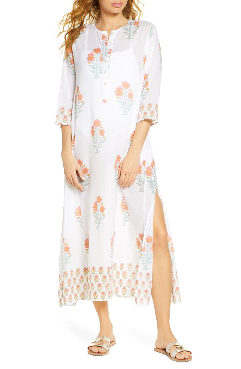 ROLLER RABBIT Borem Floral Cover-Up Maxi Dress, Main, color, IVORY