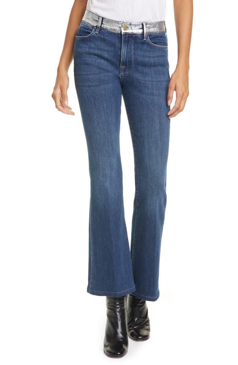 FRAME Le Pixie Metallic High Waist Flare Leg Jeans, Main, color, REDGRAVE SILVER FOIL