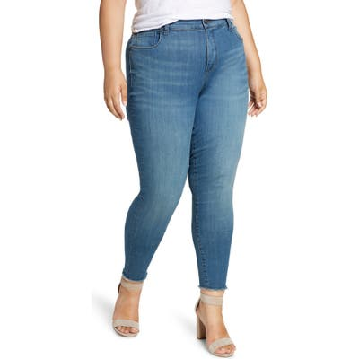 Plus Size Kut From The Kloth High Waist Fray Hem Skinny Jeans, Blue