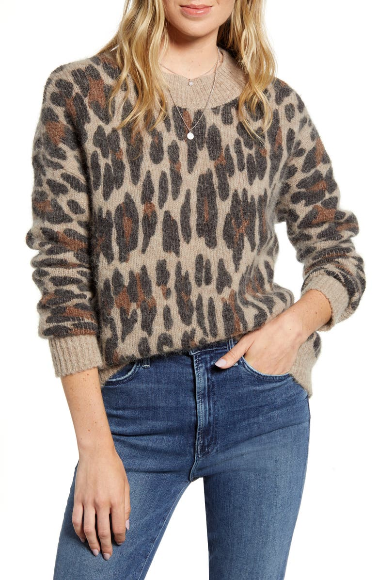 RAILS Lana Leopard Sweater, Main, color, SPOTTED HAZEL