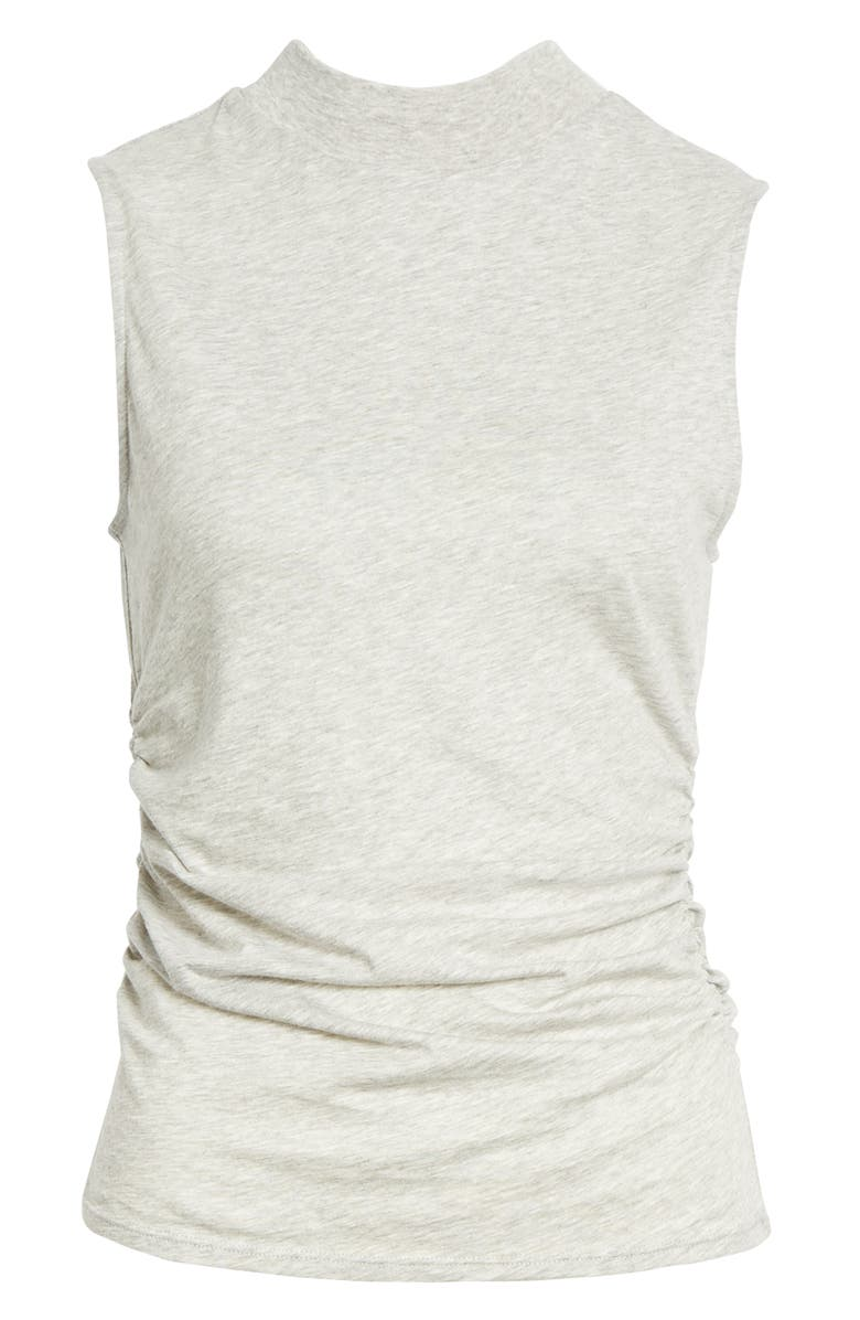 CHELSEA28 Ruched Mock Neck Tank, Main, color, GREY LIGHT HEATHER