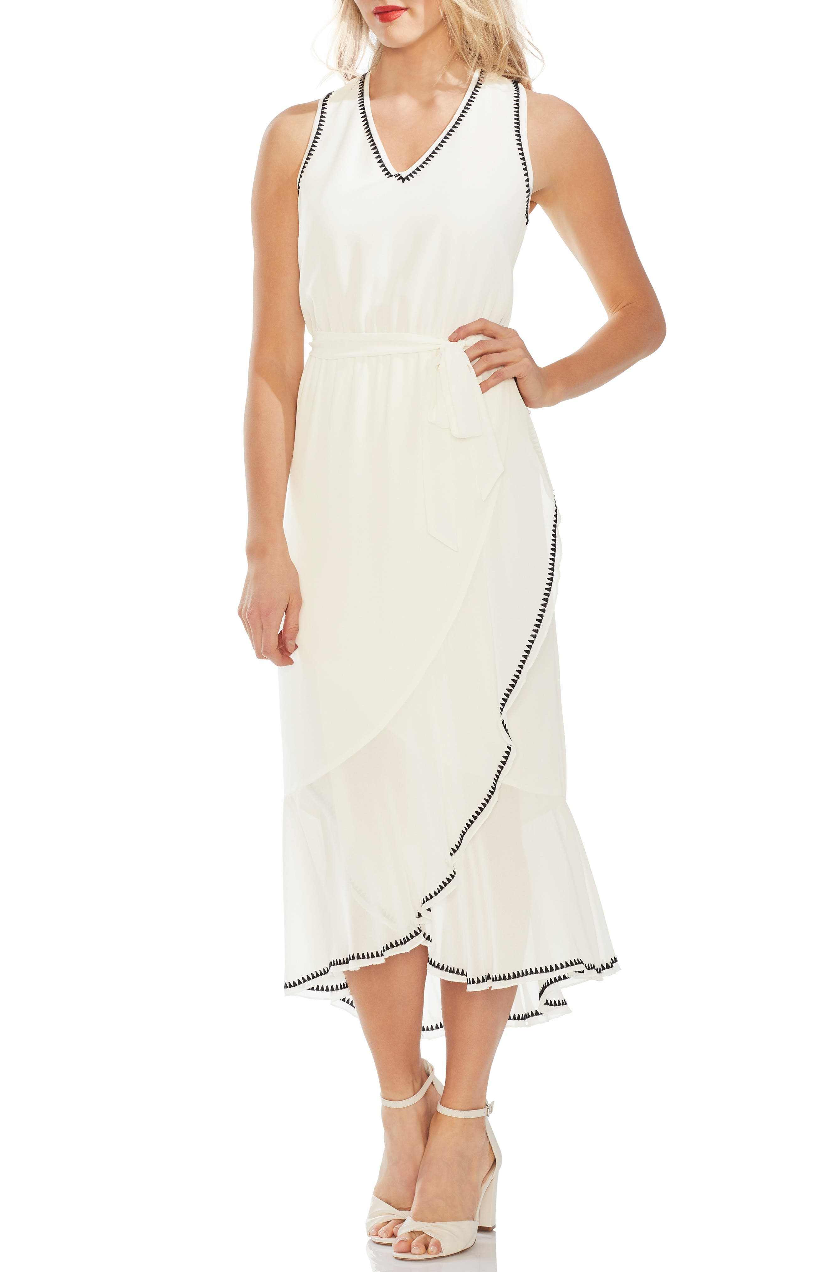Vince Camuto Embroidered Ruffle Belted Chiffon Dress, White