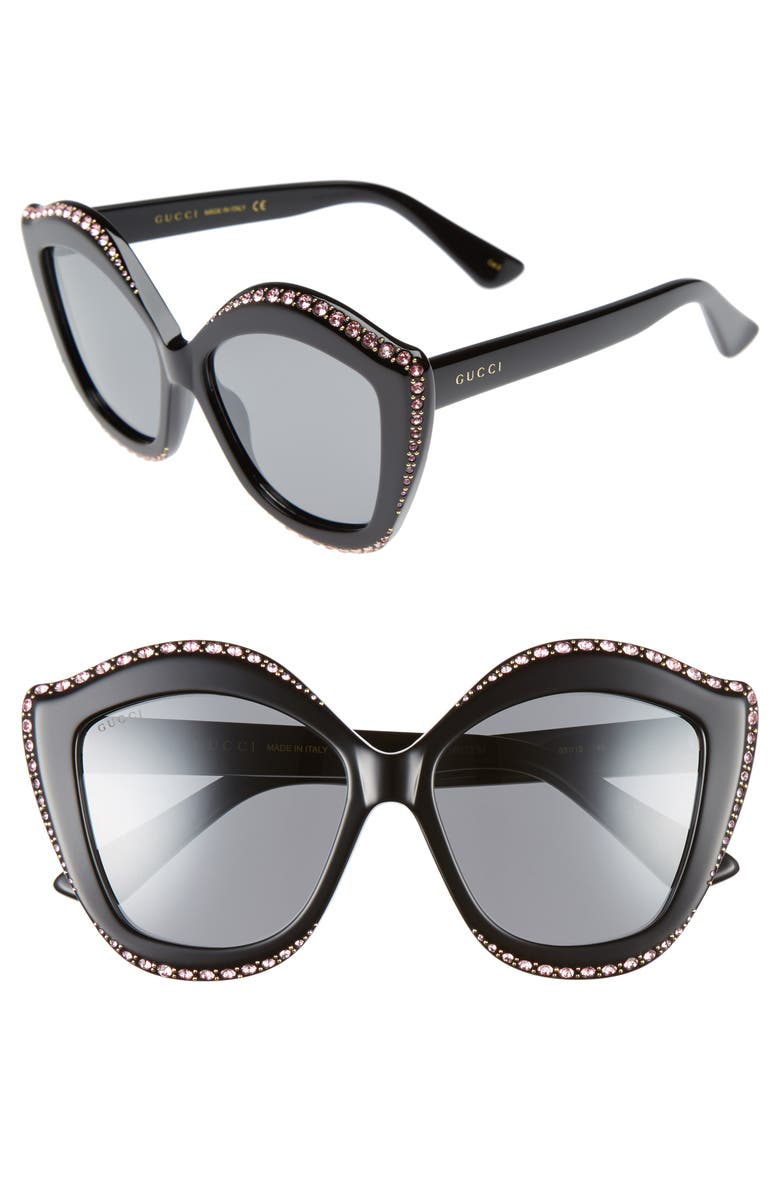GUCCI 52mm Cat Eye Sunglasses, Main, color, 001