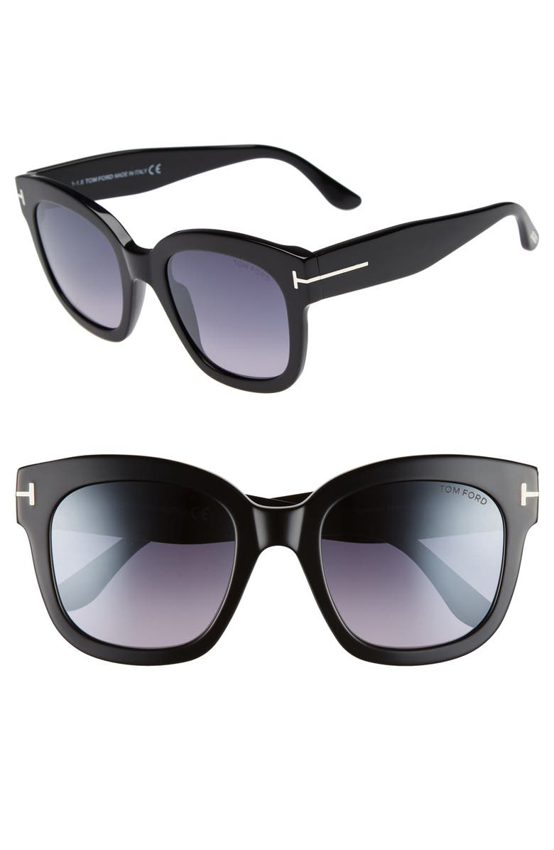 TOM FORD Beatrix 52mm Sunglasses, Main, color, SHINY BLACK/ SMOKE MIRROR
