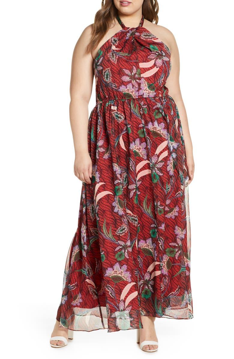 ELOQUII Floral Halter Neck Georgette Maxi Dress, Main, color, LILAC AND VINE