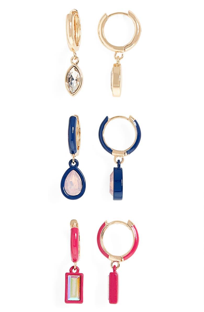 BP. Set of 3 Huggie Hoop Drop Earrings, Main, color, GOLD- NAVY- PINK