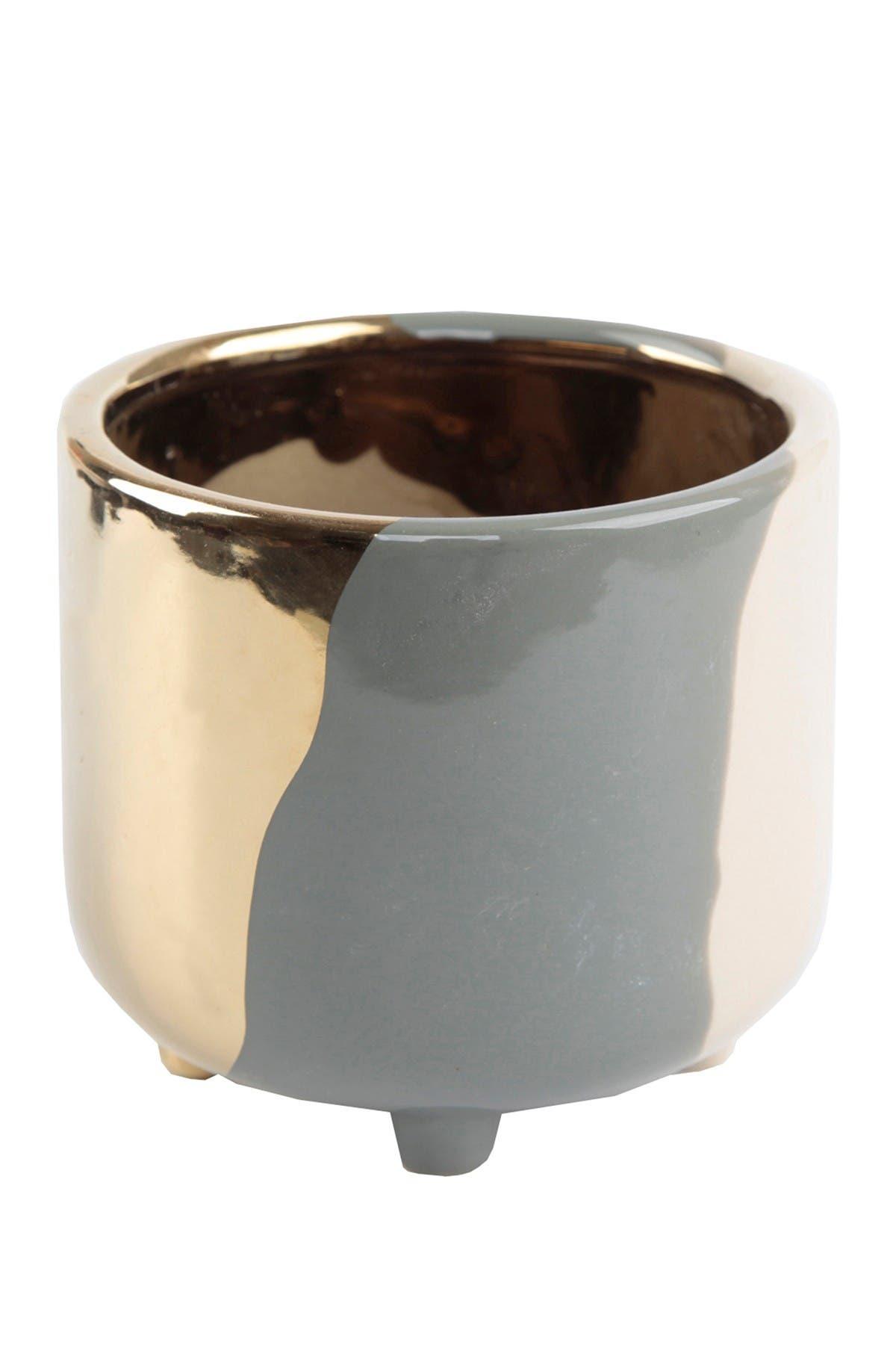 "Image of FLORA BUNDA 4.8"" Multicolor Footed Ceramic Planter"