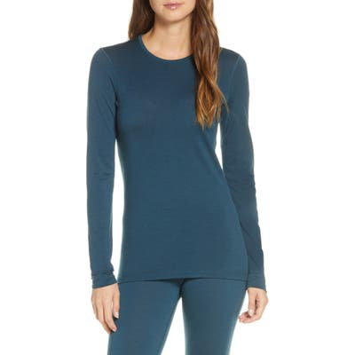 Icebreaker Oasis Long Sleeve Merino Wool Base Layer Tee, Blue