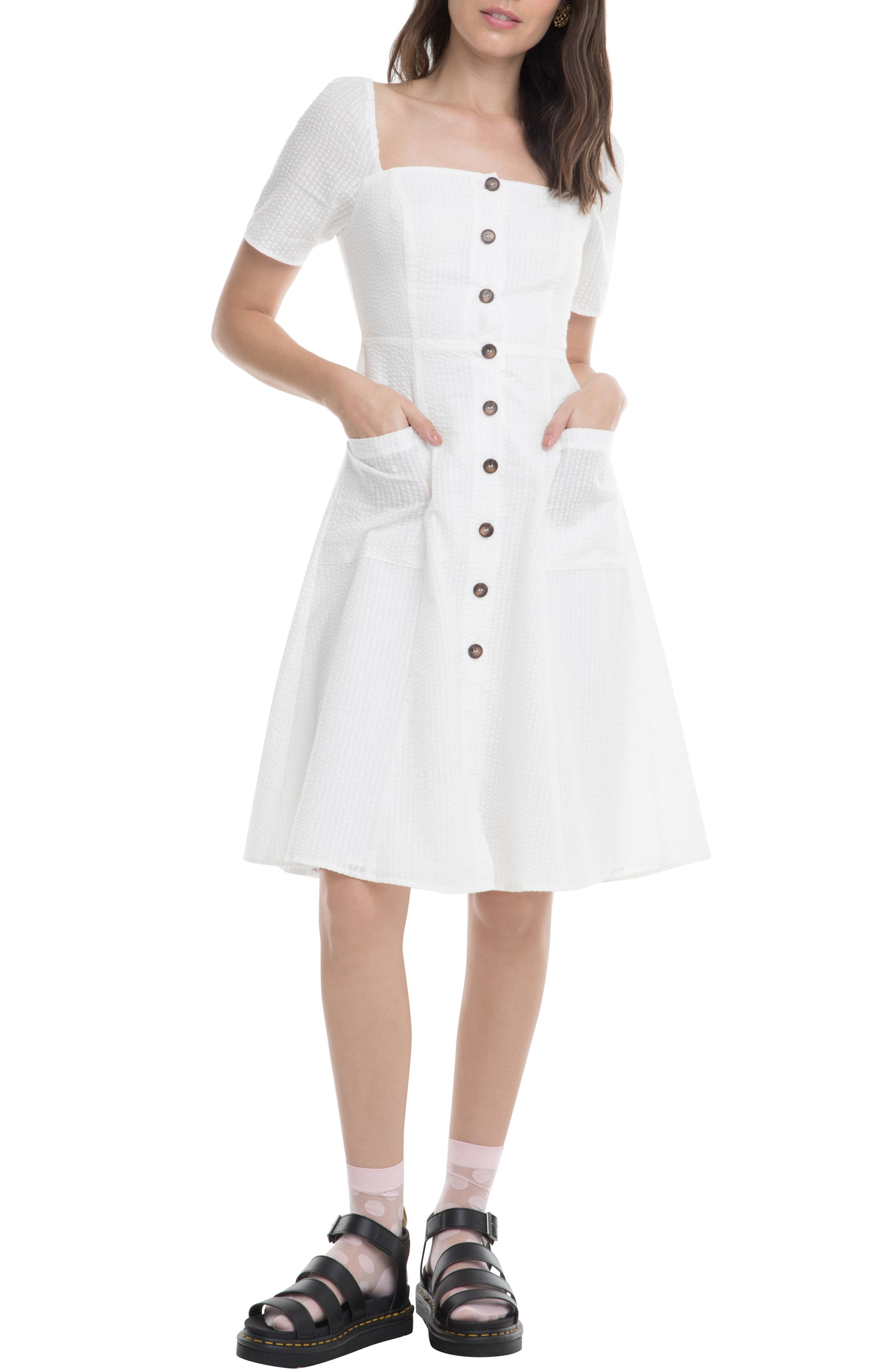 Astr The Label Ramona A-Line Dress, White
