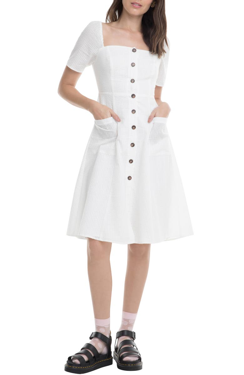 ASTR THE LABEL Ramona A-Line Dress, Main, color, OFF WHITE