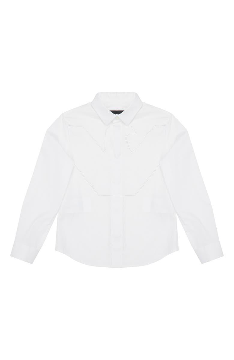 ARMANI JUNIOR Logo Yoke Button-Up Shirt, Main, color, WHITE