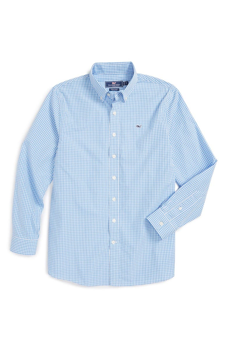 VINEYARD VINES Classic Gingham - Whale Long Sleeve Sport Shirt, Main, color, HYDRANGEA