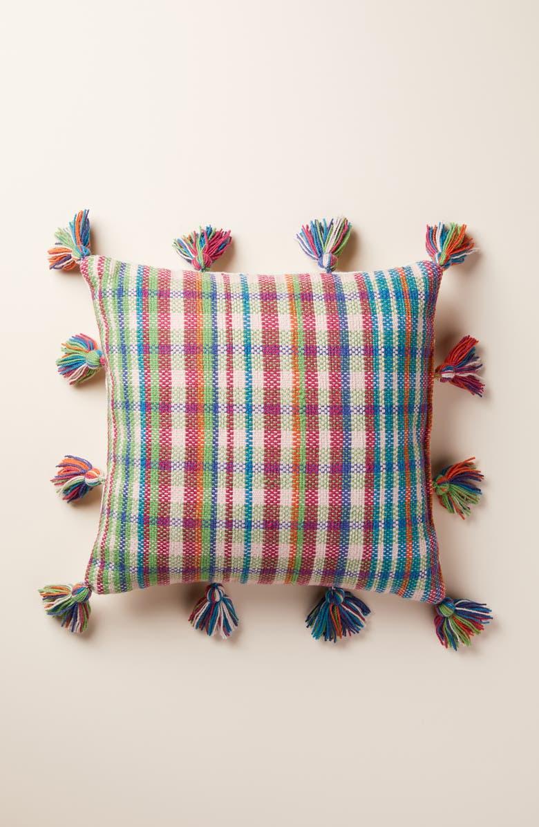 ANTHROPOLOGIE Pilar Plaid Tassel Indoor/Outdoor Accent Pillow, Main, color, WARM MULTI