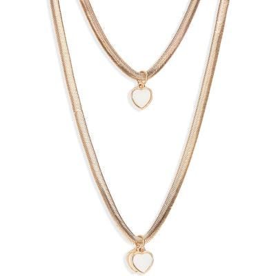 Bp. Layered Snake Chain Heart Pendant Necklace