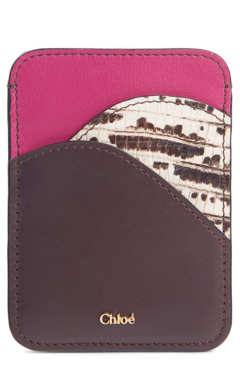 CHLOÉ Walden Embossed Leather Card Holder, Main, color, BURGUNDY RAISIN MULTI