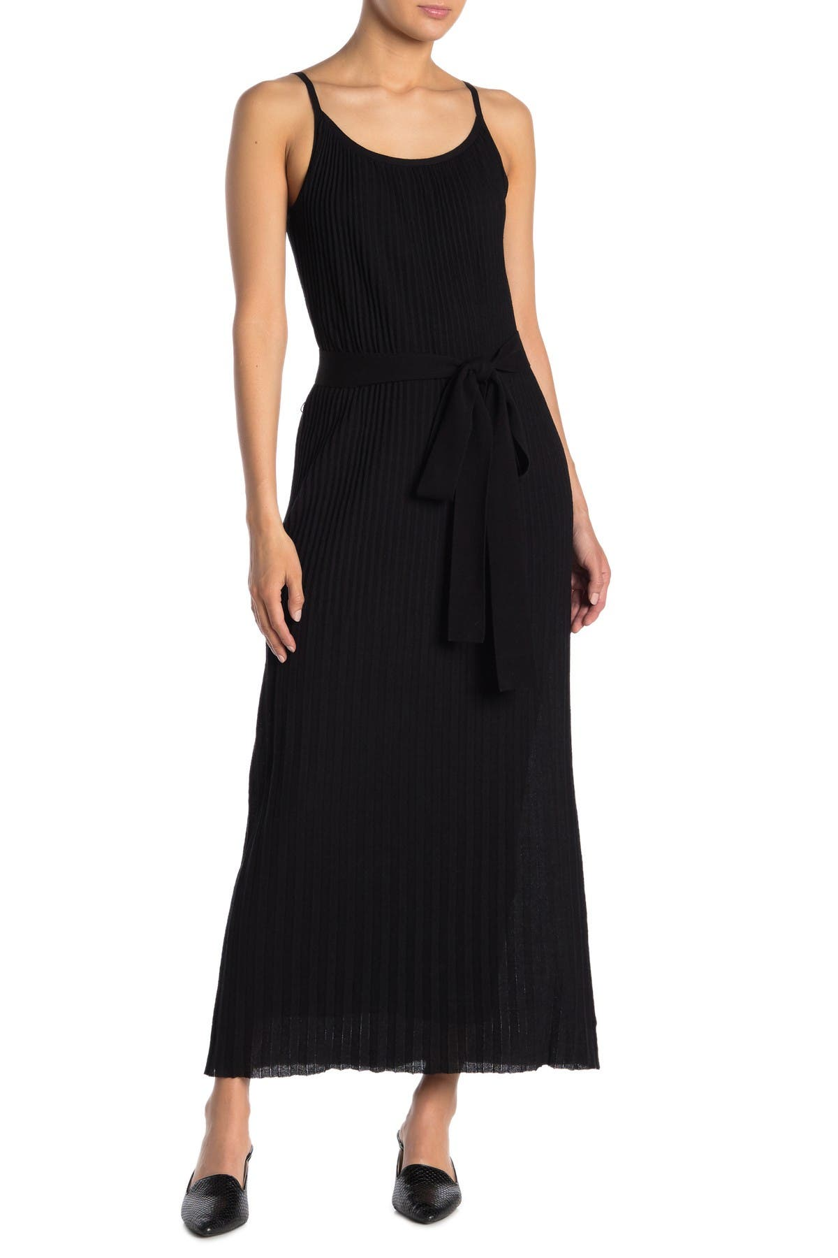 Image of Theory Pleated Waist Tie Maxi Dress