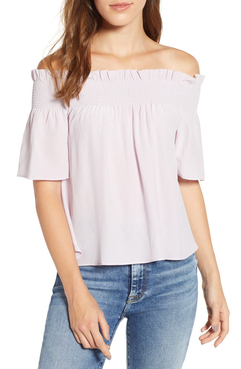 7 FOR ALL MANKIND<SUP>®</SUP> Off the Shoulder Smocked Silk Top, Main, color, POWDER LILAC