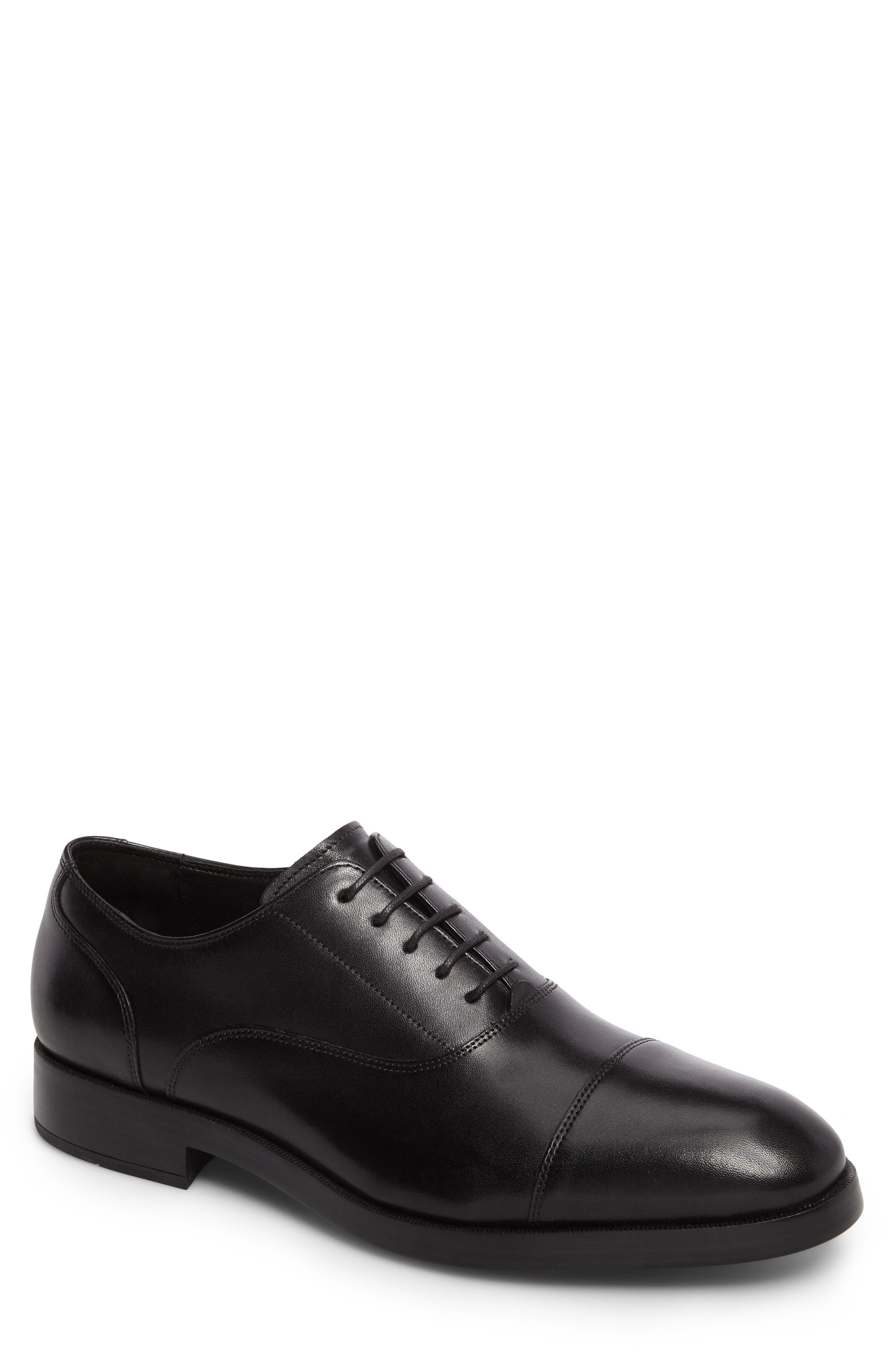 Harrison Grand Cap Toe Oxford, Main, color, BLACK/ BLACK LEATHER