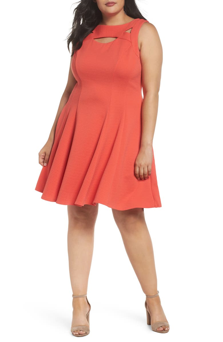 Coral Cutout Fit & Flare Dress
