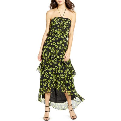 Wayf Zander Floral Print Halter Dress, Black