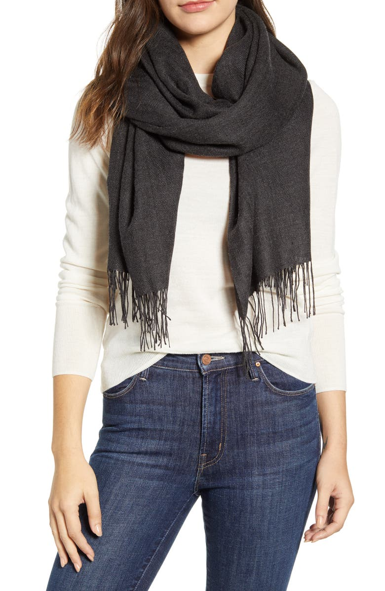NORDSTROM Metallic Wool & Cashmere Blend Scarf, Main, color, GREY DARK CHARCOAL HTHR COMBO
