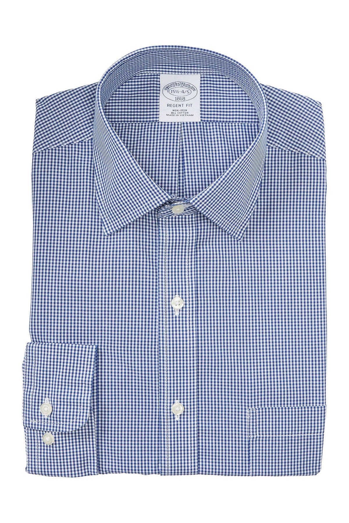 Image of Brooks Brothers Gingham Print Non-Iron Regent Fit Dress Shirt