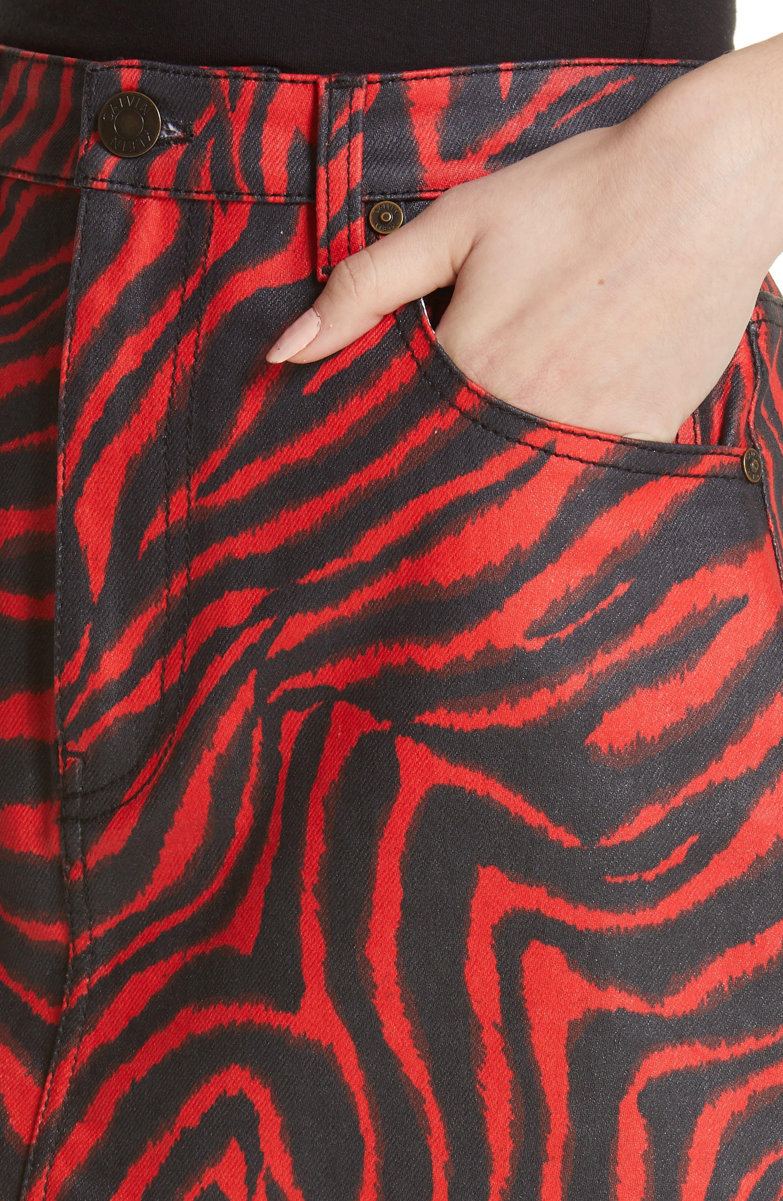 ,                             Zebra Print Denim Skirt,                             Alternate thumbnail 4, color,                             RED ZEBRA
