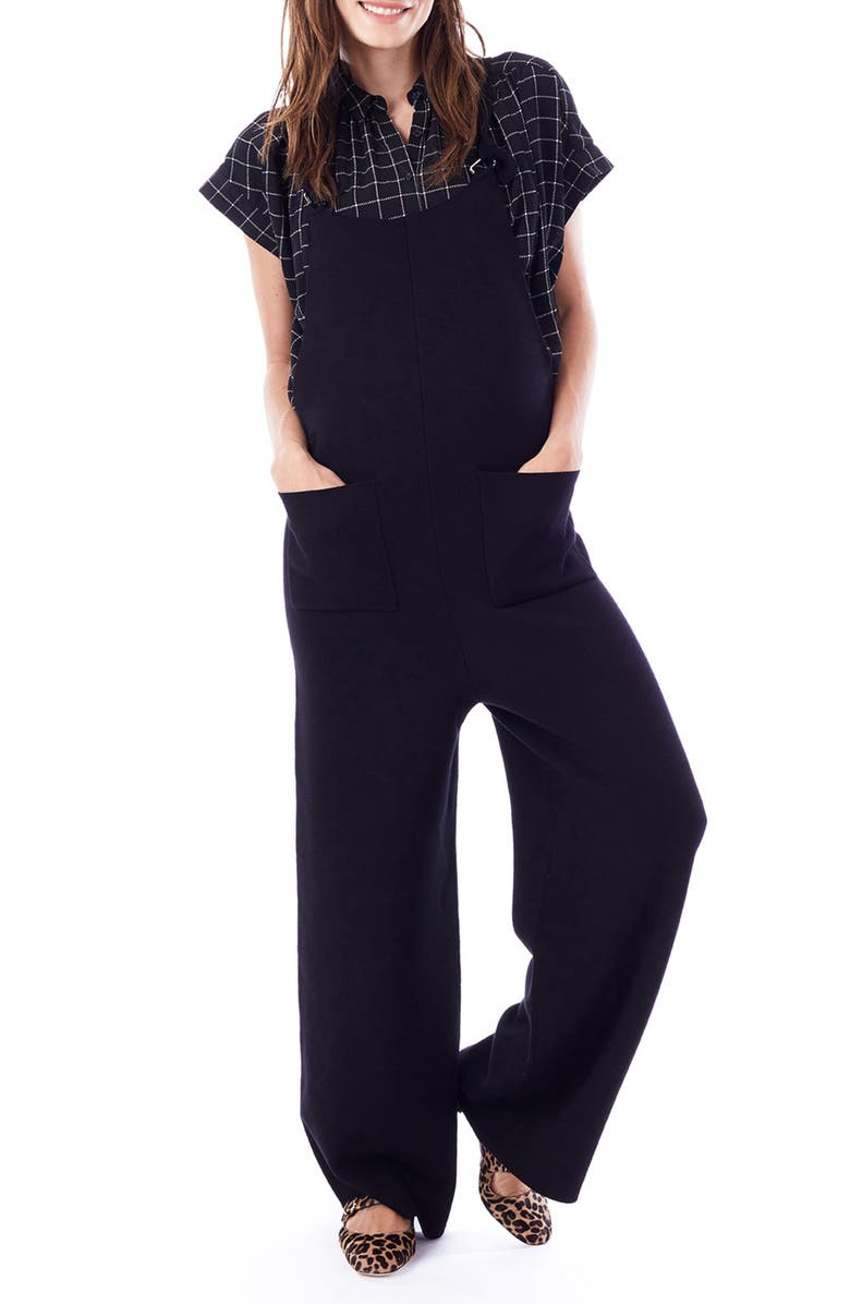 LOYAL HANA Candice Maternity/Nursing Jumpsuit, Main, color, BLACK