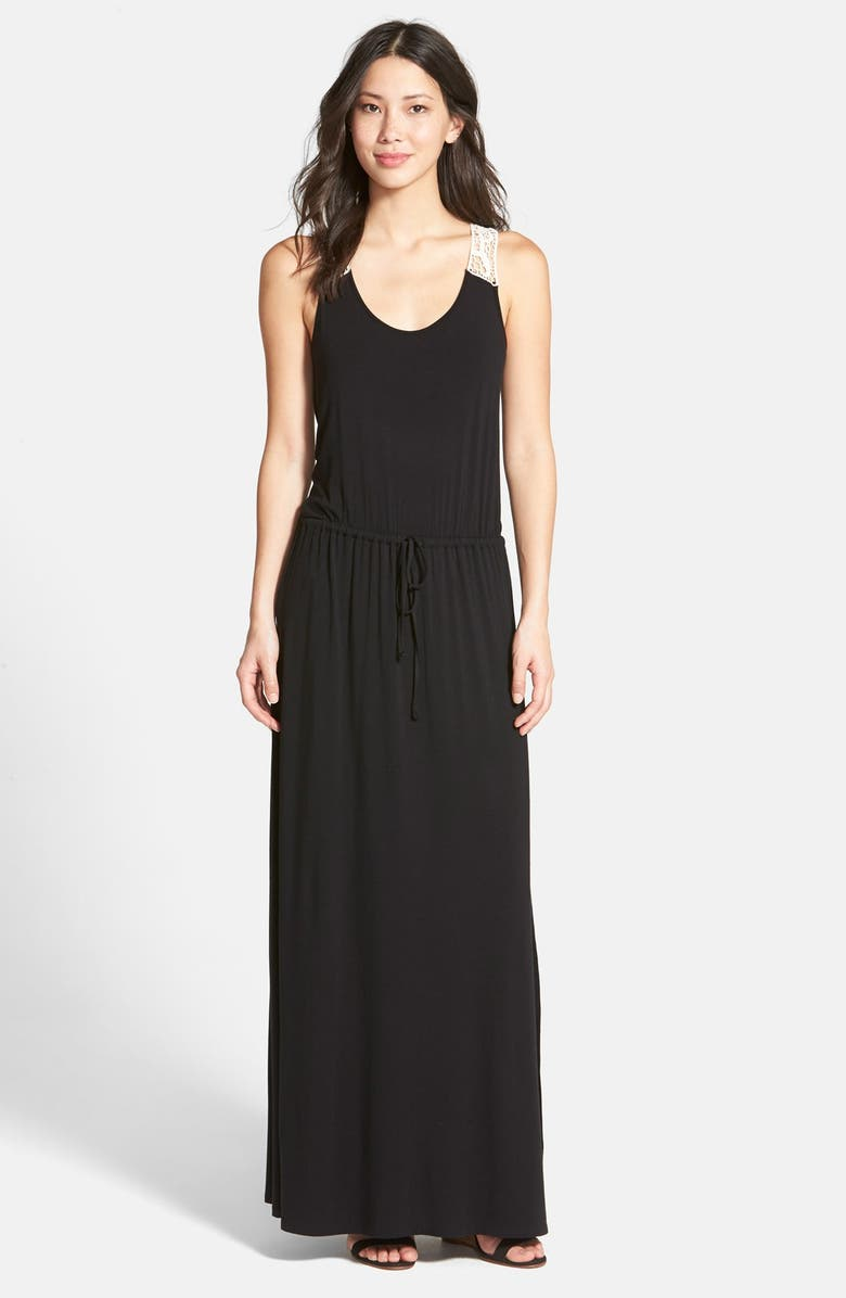 HALOGEN<SUP>®</SUP> Crochet Racerback Knit Maxi Tank Dress, Main, color, Black