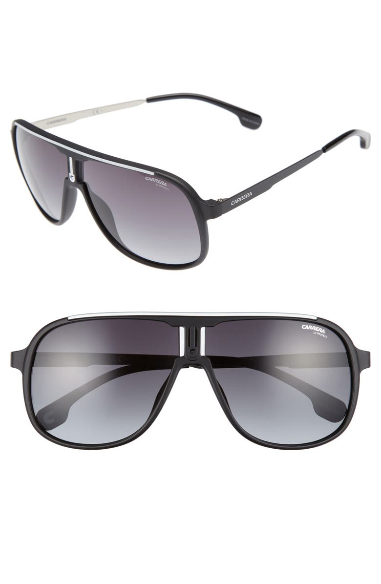 CARRERA EYEWEAR 62mm Sunglasses, Main, color, MATTE BLACK