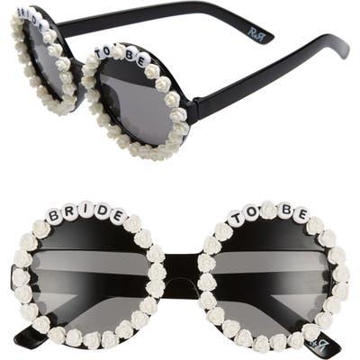 Rad + Refined Bride To Be Round Sunglasses - Black/ White