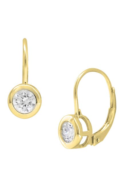 Image of Savvy Cie 18K Gold Vermeil CZ Leverback Earrings