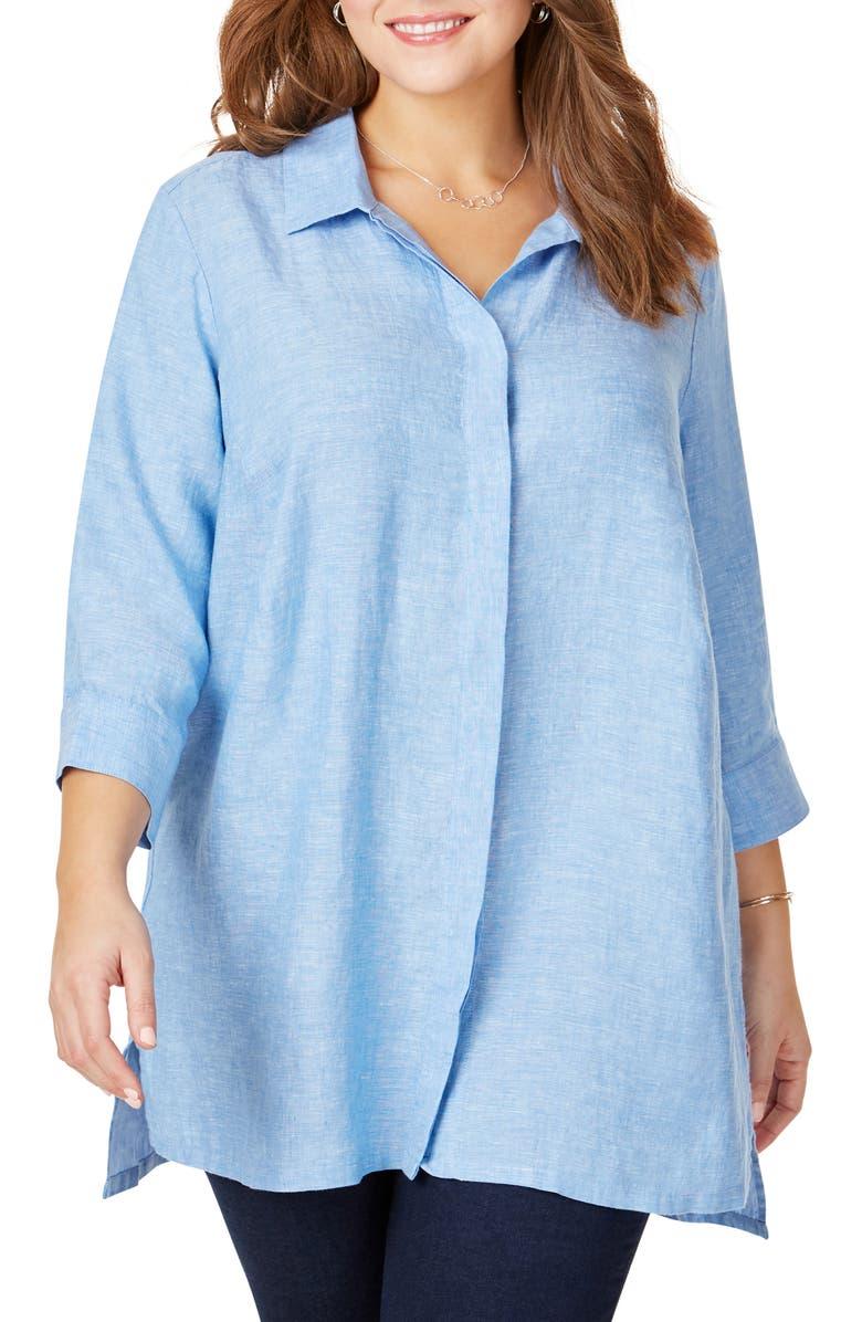 FOXCROFT Chambray Linen Tunic Shirt, Main, color, PARIS BLUE