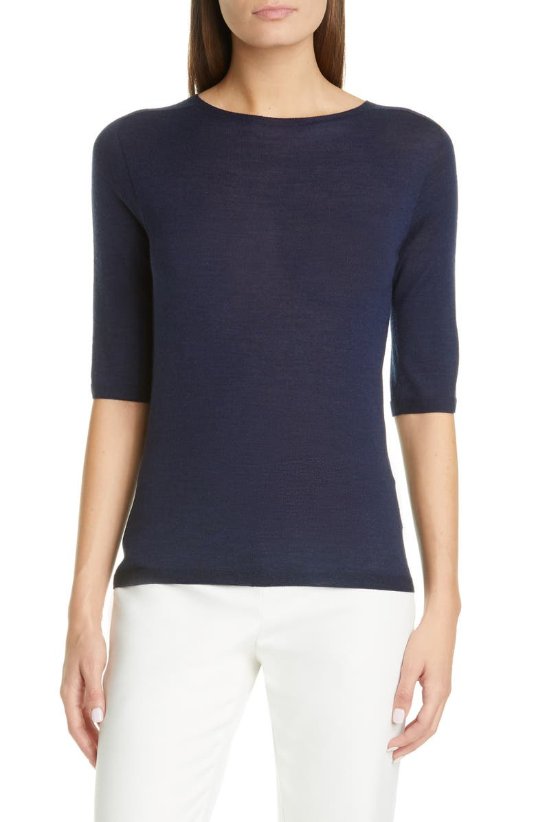 ST. JOHN COLLECTION Elbow Sleeve Jersey Top, Main, color, NAVY