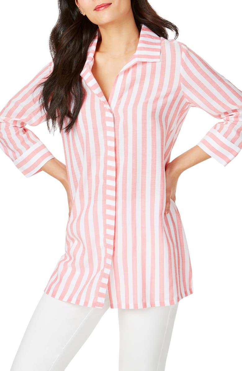 FOXCROFT Skye Stripe Tunic Shirt, Main, color, STARFISH