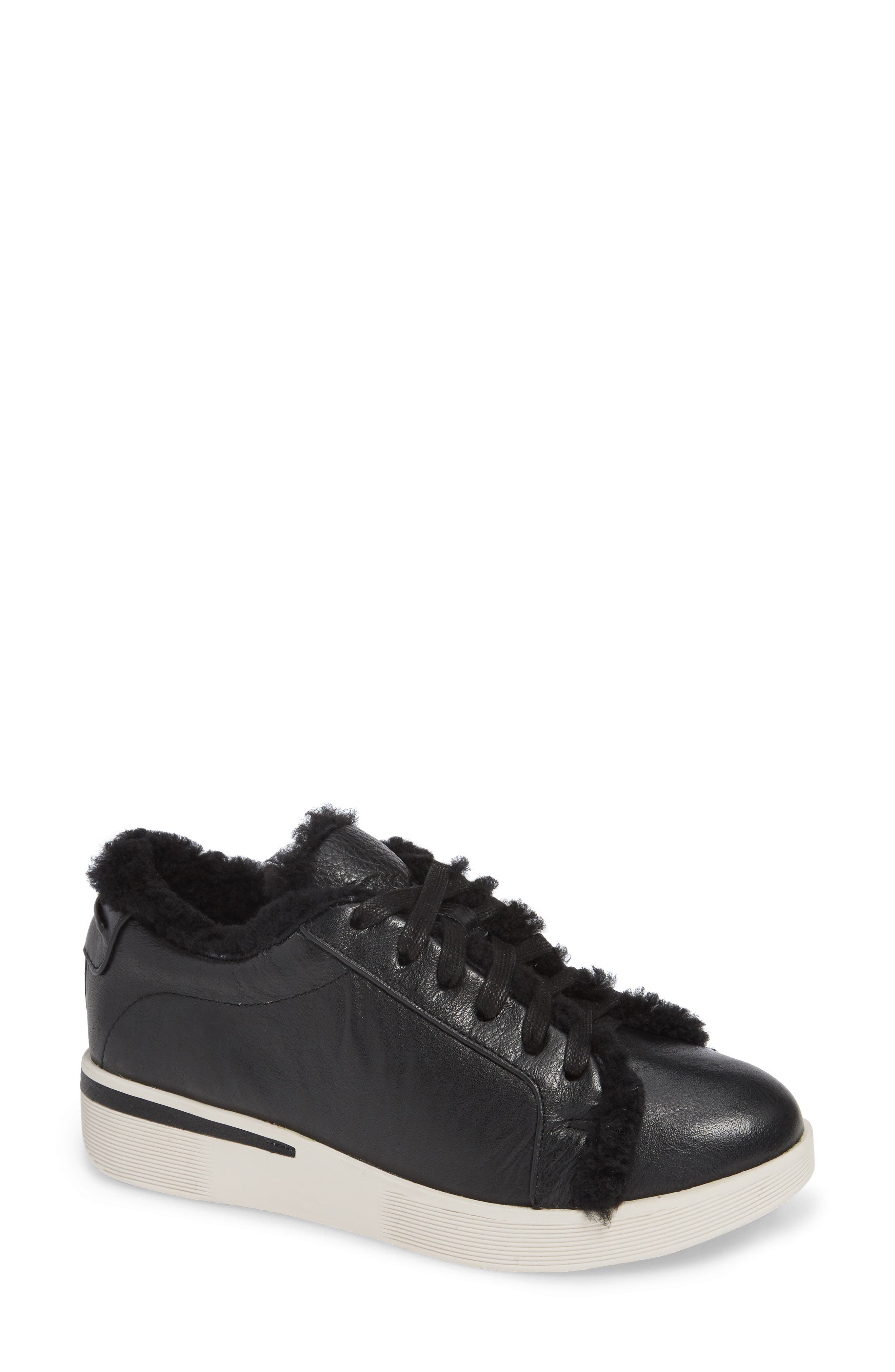 Gentle Souls By Kenneth Cole Haddie Genuine Shearling Lined Sneaker- Black