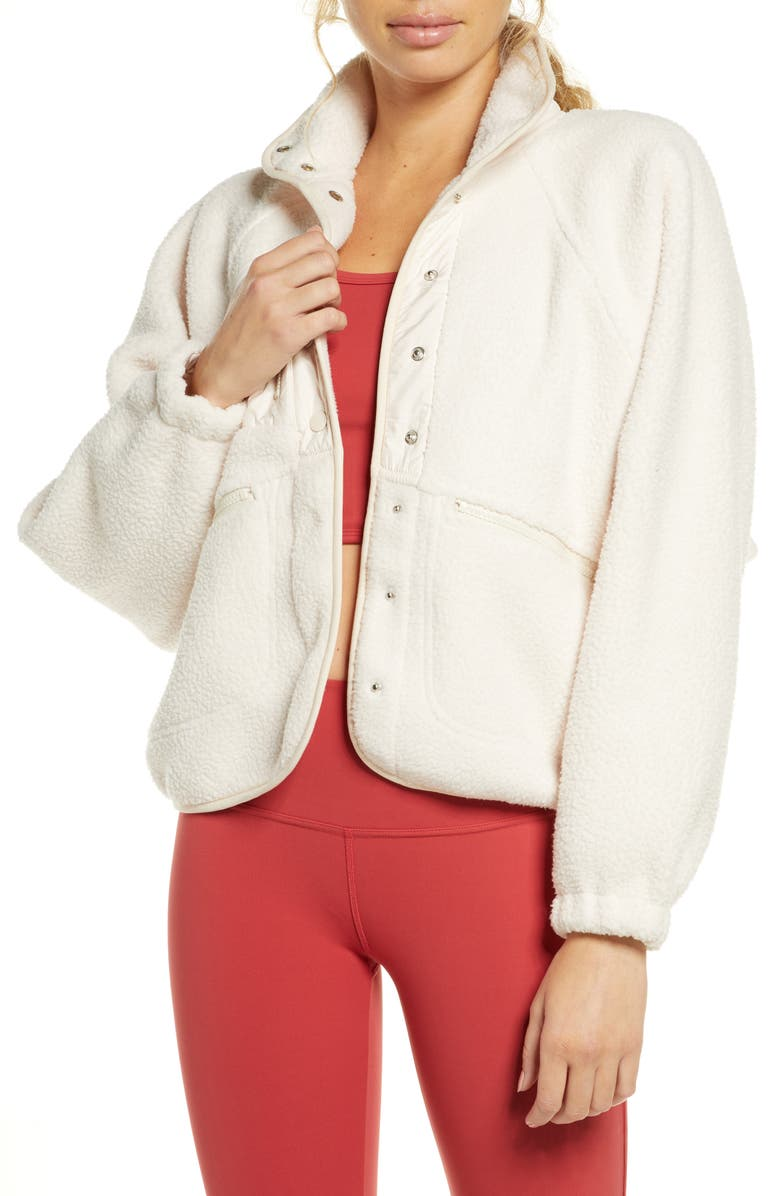 FREE PEOPLE FP MOVEMENT Hit the Slopes Fleece Jacket, Main, color, IVORY