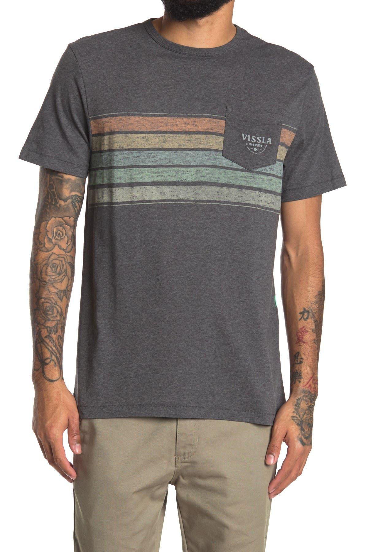 Image of VISSLA Hi-Five Stripe Printed Pocket T-Shirt