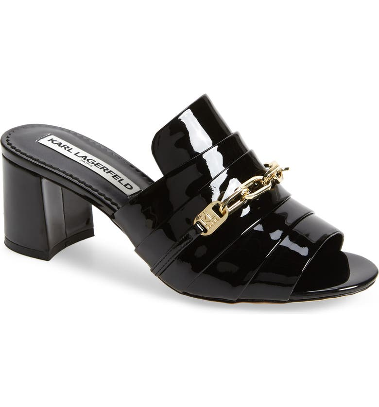 KARL LAGERFELD PARIS Chain Detail Patent Leather Mule, Main, color, BLACK PATENT LEATHER