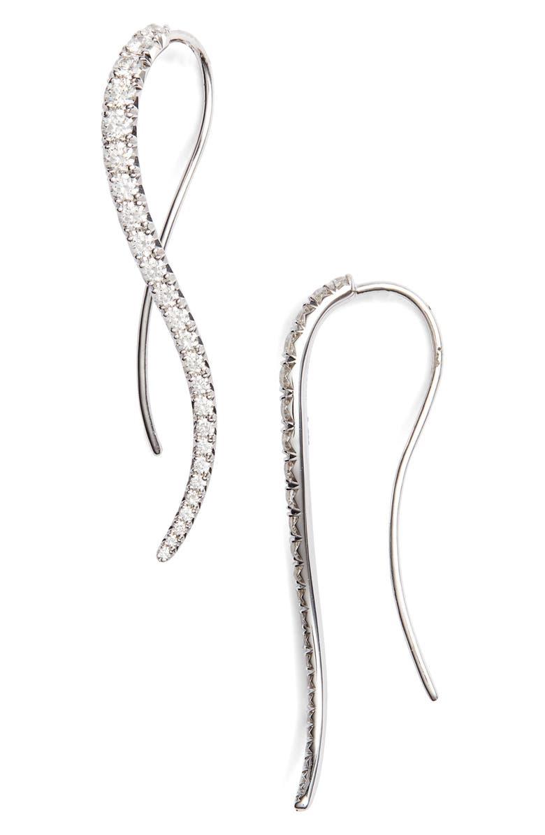KWIAT Diamond Vine Earrings, Main, color, WHITE GOLD