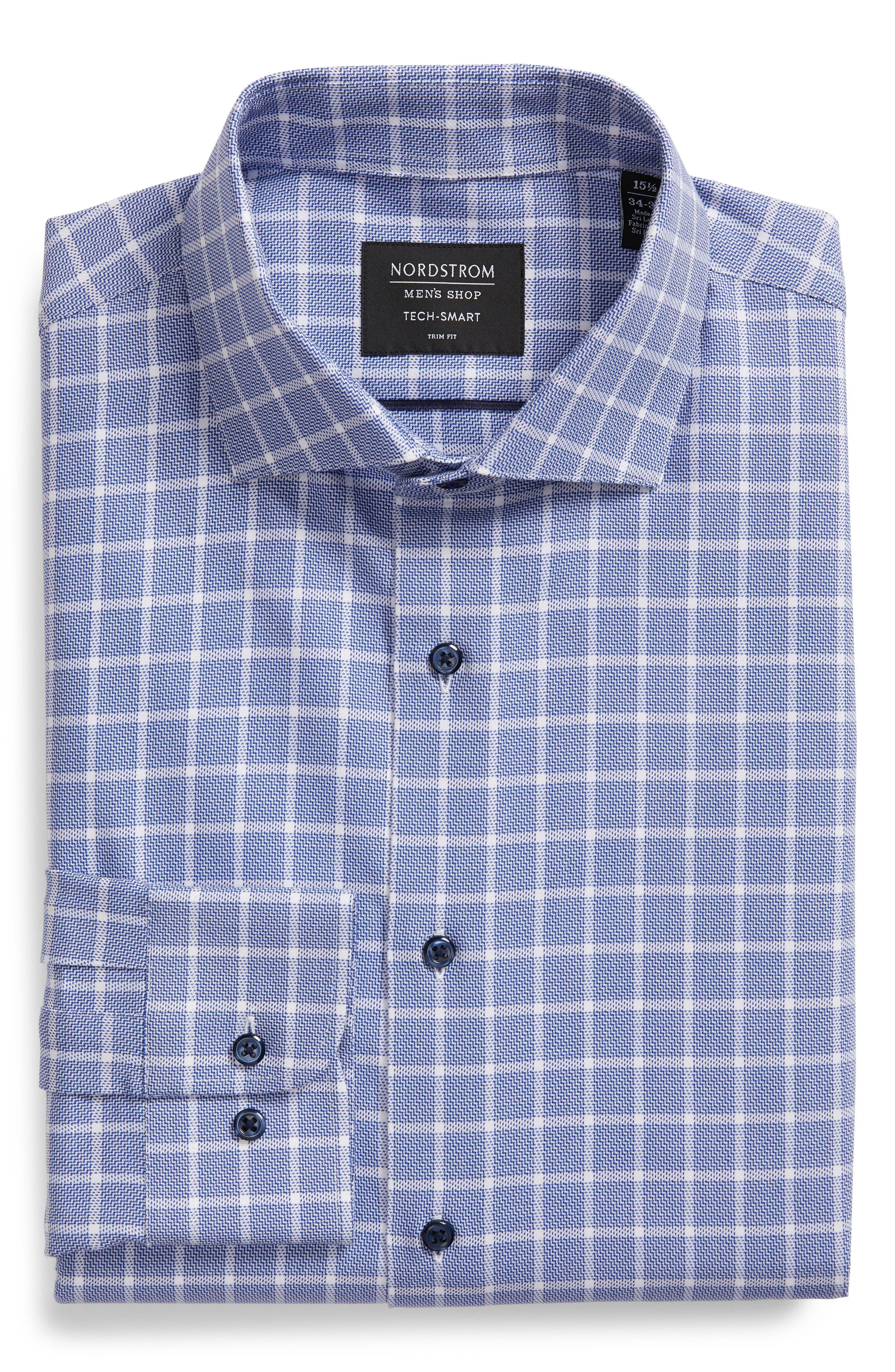 ,                             Tech-Smart Trim Fit Stretch Plaid Dress Shirt,                             Alternate thumbnail 5, color,                             410