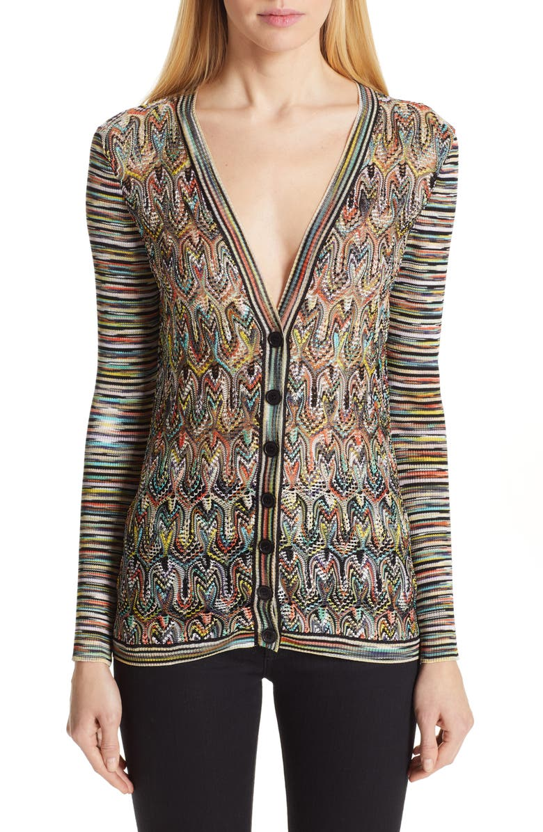 MISSONI Pointelle Panel Stripe Cardigan, Main, color, BLACK