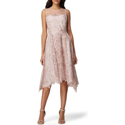Tahari Sleeveless Embroidered Mesh Handkerchief Hem Dress, Pink