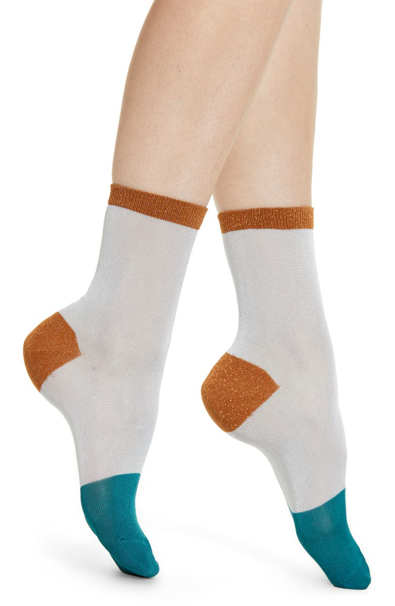 HYSTERIA BY HAPPY SOCKS Liz Metallic Colorblock Ankle Socks, Main, color, LT BLUE