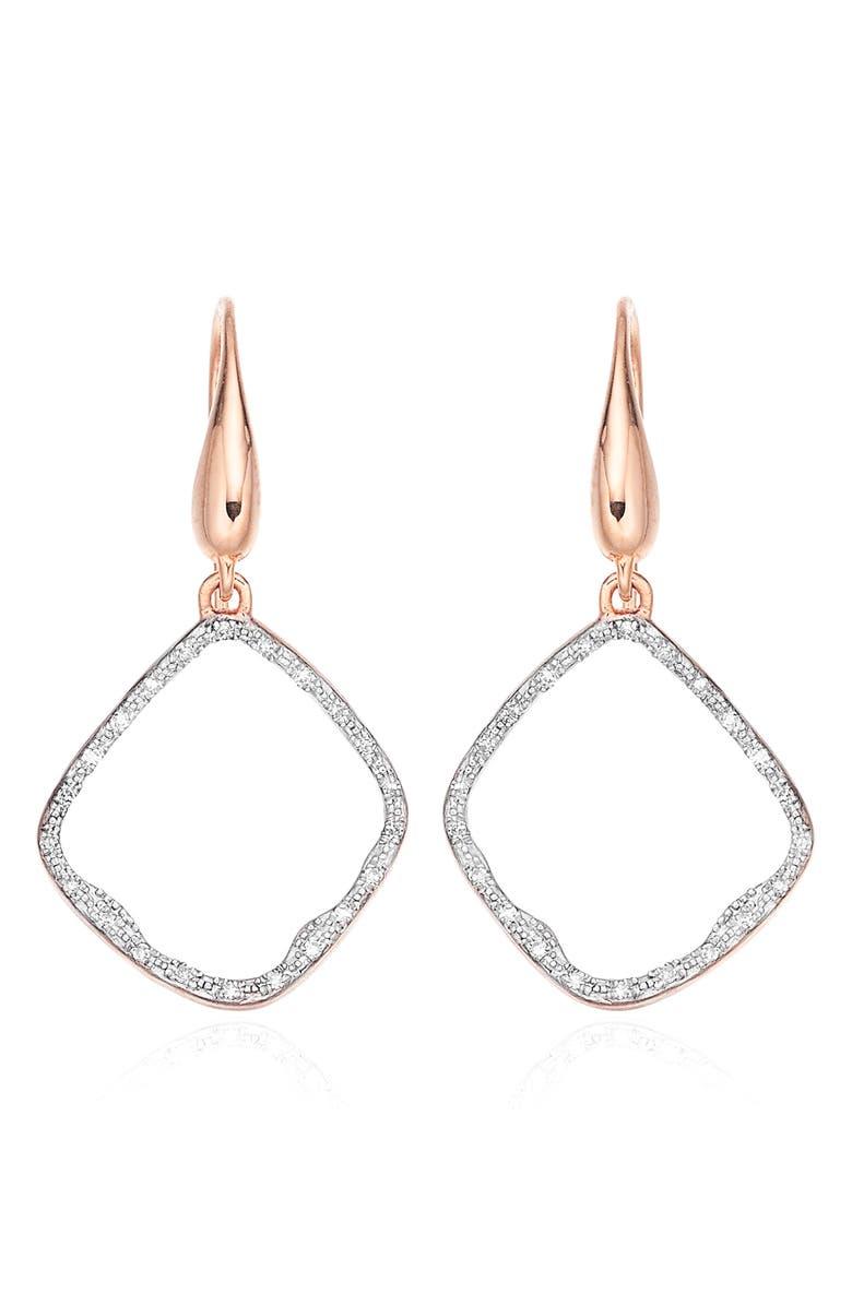 MONICA VINADER Riva Diamond Hoop Drop Earrings, Main, color, ROSE GOLD