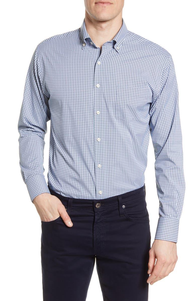 PETER MILLAR Check Performance Button-Down Shirt, Main, color, NAVY