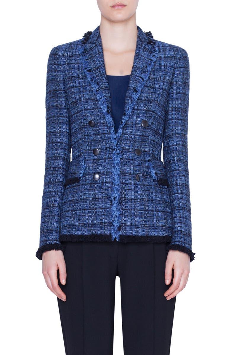 AKRIS PUNTO Fringe Tweed Blazer, Main, color, DARK DENIM/ BLACK