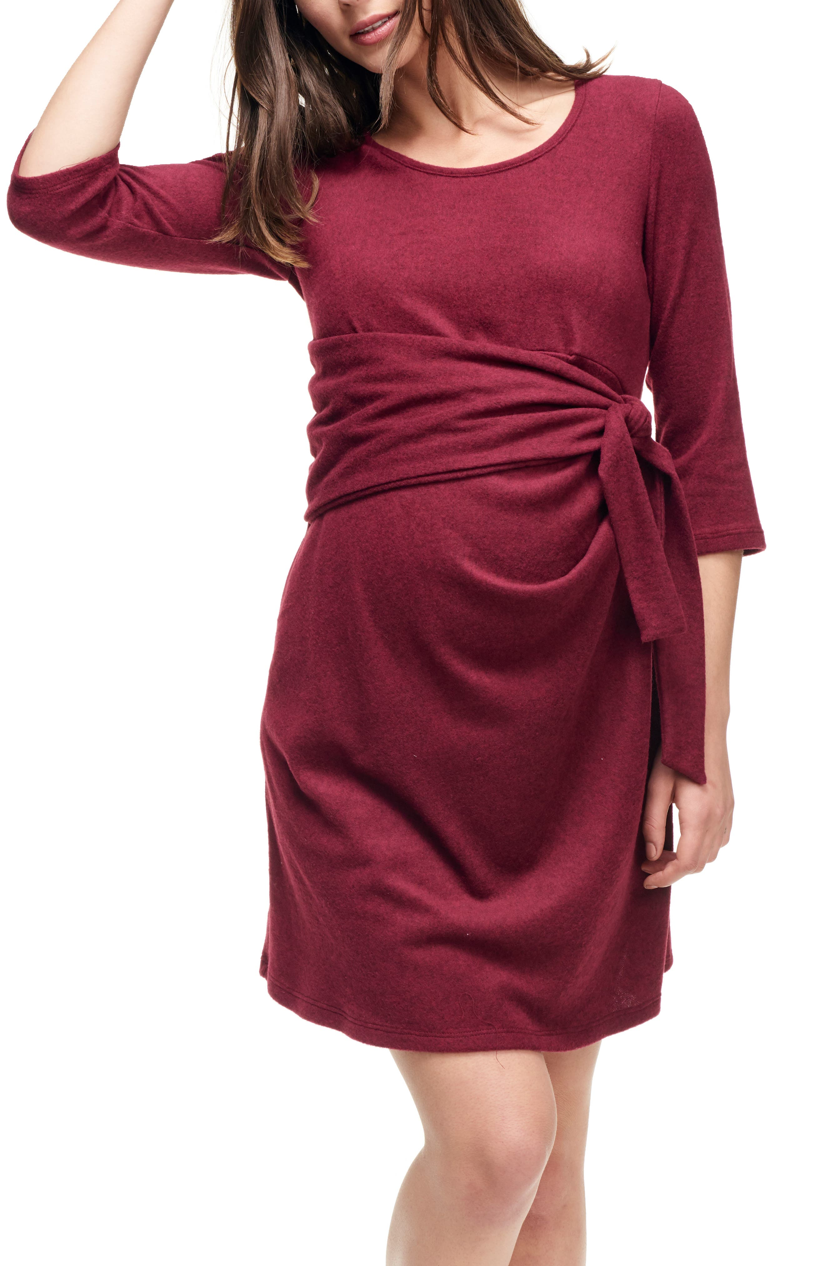 Maternal America Faux Wrap Maternity Dress, Burgundy